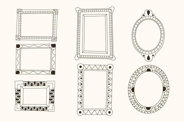 Paquete de espacio de copia dibujado a mano de decoración de marco adornado