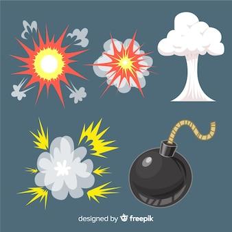 Paquete de estilo de dibujos animados de efectos de explosión