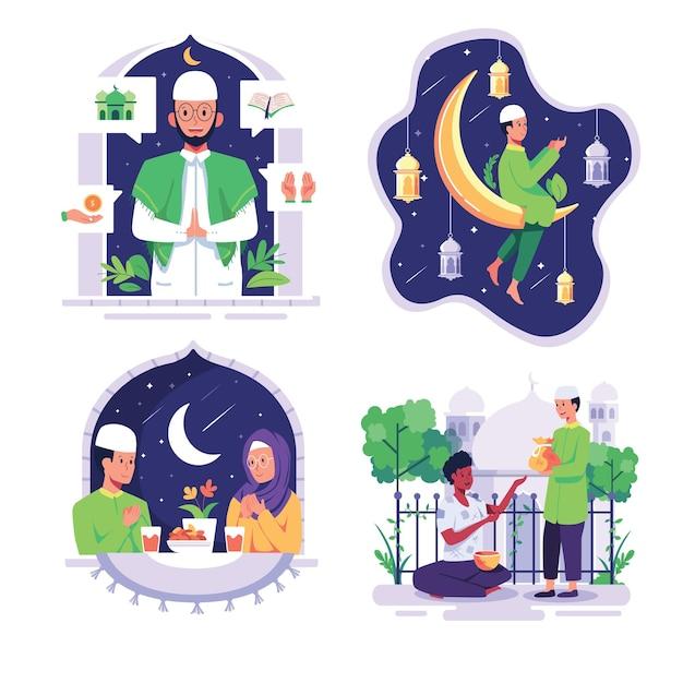 Paquete con el estilo de vida de los musulmanes en estilo de personaje de dibujos animados, ilustración gráfica plana de diseño