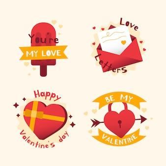 Paquete de etiqueta / insignia plana de san valentín