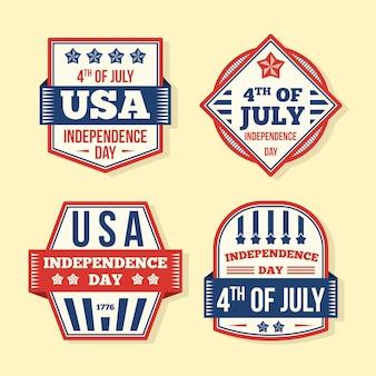 Paquete de etiqueta vintage del 4 de julio