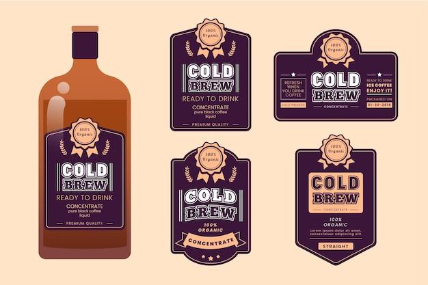 Paquete de etiquetas de café frío