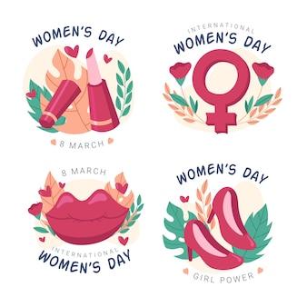 Paquete de etiquetas del día internacional de la mujer dibujado a mano