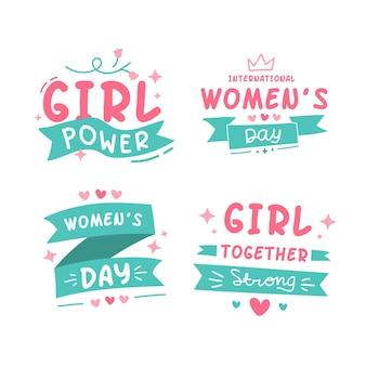 Paquete de etiquetas del día internacional de la mujer.