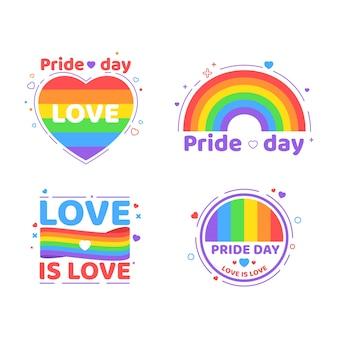 Paquete de etiquetas del día del orgullo de ilustraciones