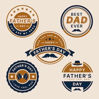 Paquete de etiquetas de día del padre de diseño plano