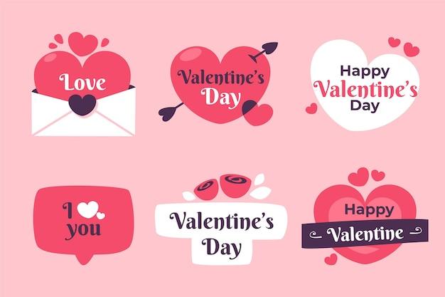 Paquete de etiquetas del día de san valentín