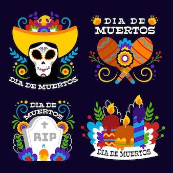 Paquete de etiquetas de diseño plano del día de los muertos.