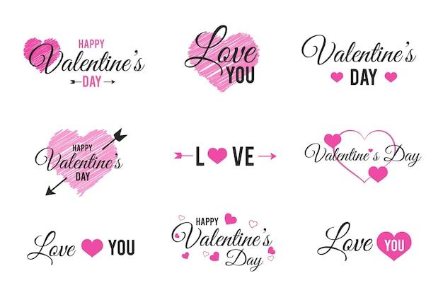 Paquete de etiquetas / insignias del día de san valentín