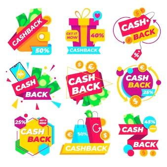 Paquete de etiquetas de marketing de devolución de dinero