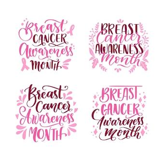 Paquete de etiquetas del mes de concientización sobre el cáncer de mama