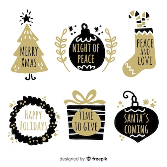 Paquete etiquetas navidad doradas dibujadas a mano
