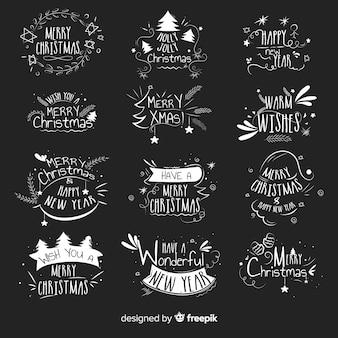 Paquete etiquetas navidad texto dibujado a mano