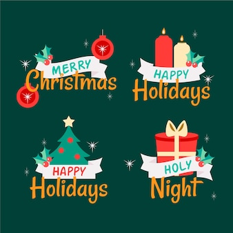 Paquete de etiquetas navideñas dibujadas a mano