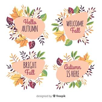 Paquete de etiquetas de otoño dibujadas a mano