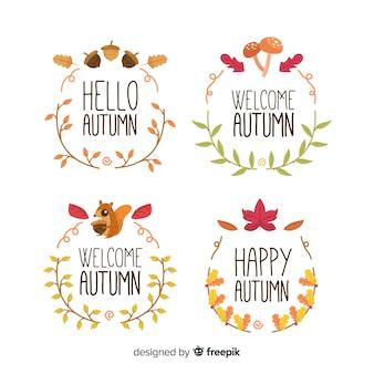 Paquete de etiquetas de otoño estilo plano