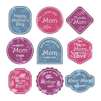 Paquete de etiquetas planas para el día de la madre