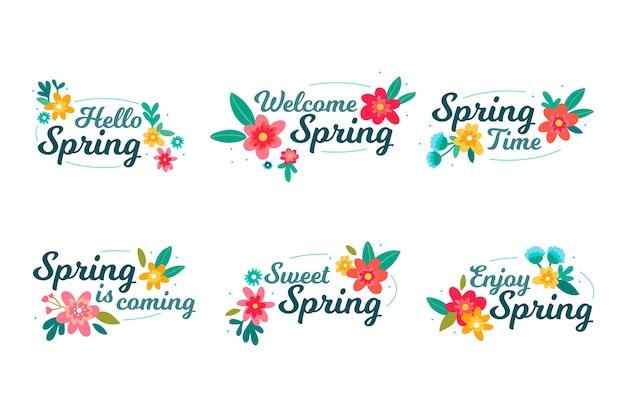 Paquete de etiquetas de primavera dibujadas a mano