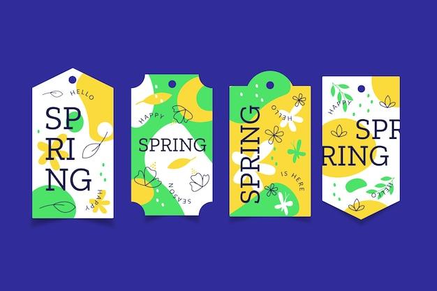 Paquete de etiquetas de primavera de diseño plano