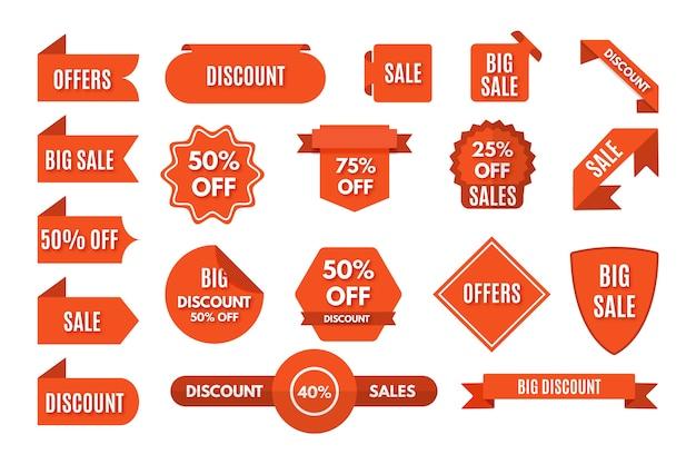 Paquete de etiquetas de promoción de ventas minimalista
