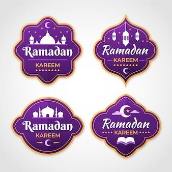 Paquete de etiquetas de ramadan plano