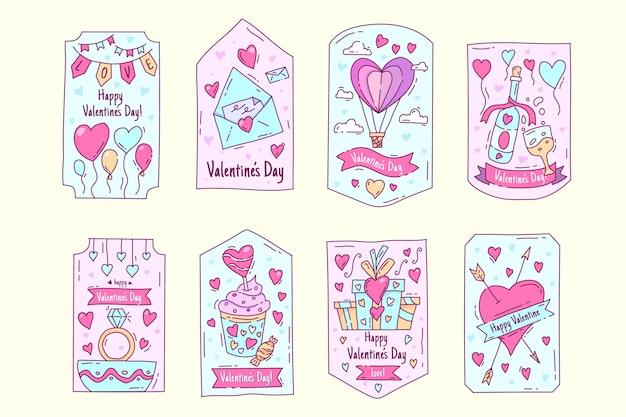 Paquete de etiquetas de san valentín dibujado a mano