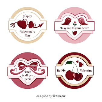 Paquete etiquetas de san valentín