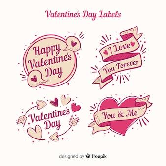 Paquete etiquetas san valentín