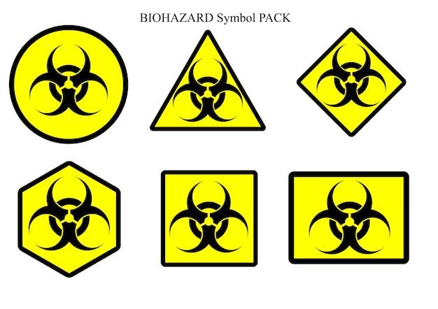 Paquete de etiquetas de símbolo de riesgo biológico