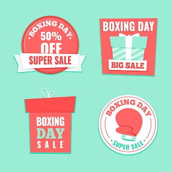 Paquete de etiquetas de venta de boxing day dibujado