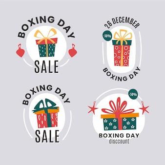 Paquete de etiquetas de venta de día de boxeo plano