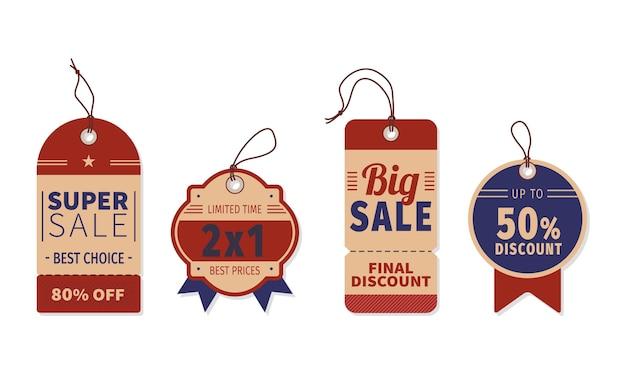 Paquete de etiquetas de venta de diseño plano