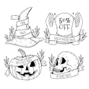Paquete de etiquetas de venta de halloween dibujadas a mano