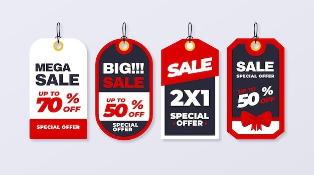 Paquete de etiquetas de ventas de diseño plano