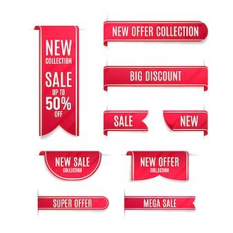 Paquete de etiquetas de ventas realistas