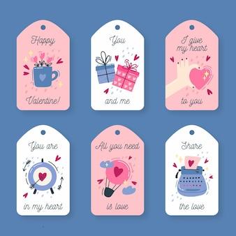 Paquete de etiquetas vintage de san valentín