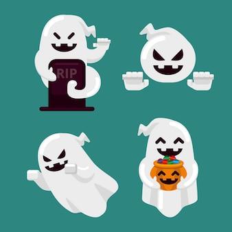 Paquete de fantasmas de halloween de diseño plano