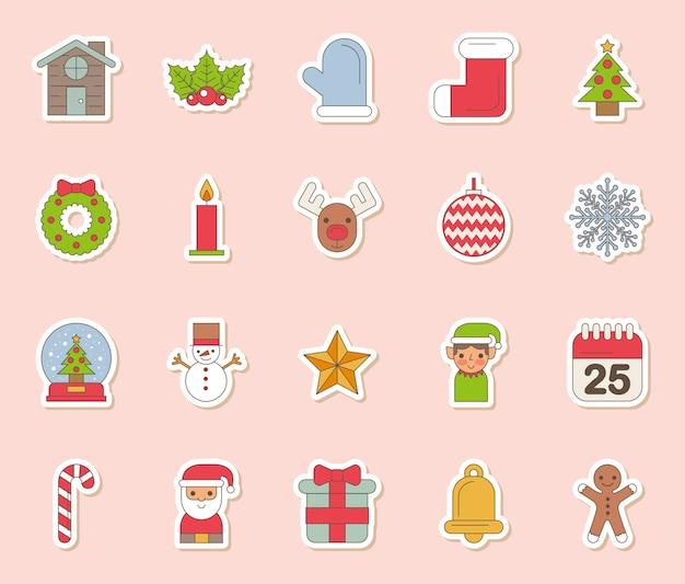Paquete de feliz navidad set iconos