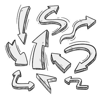 Paquete de flechas dibujadas a mano realista