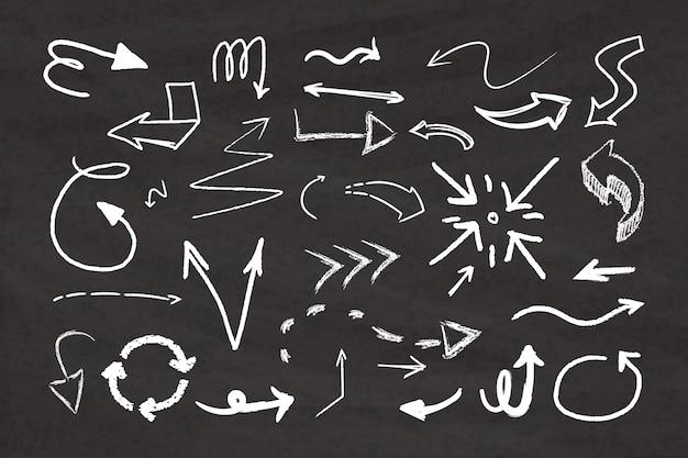 Paquete de flechas dibujadas a mano