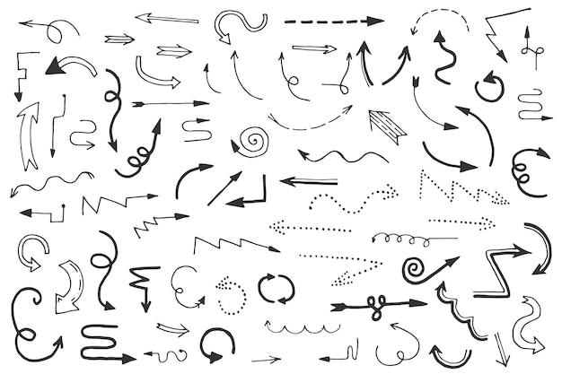 Paquete de flechas de diseño dibujado a mano
