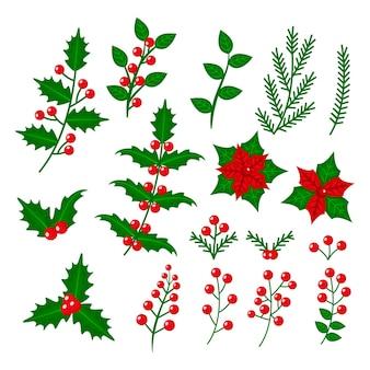 Paquete de flores y guirnaldas navideñas de diseño plano