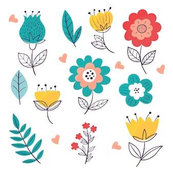 Paquete de flores de primavera dibujadas a mano
