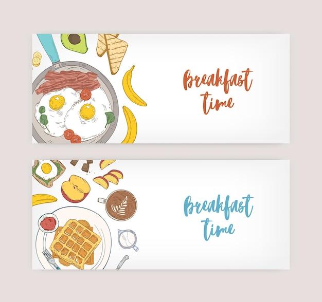 Paquete de fondo horizontal con deliciosas comidas saludables para el desayuno y comida de la mañana: huevos fritos, tostadas, obleas, frutas