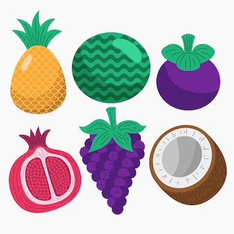 Paquete de fruta deliciosa plana orgánica