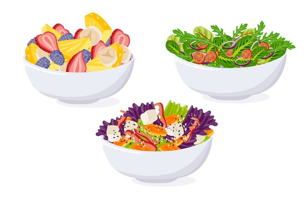 Paquete de frutas y ensaladeras