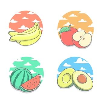 Paquete de frutas frescas con nubes y cielo