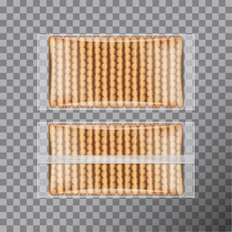 Paquete de galletas, envuelto en plástico transparente. embalaje para galletas. vista frontal y posterior
