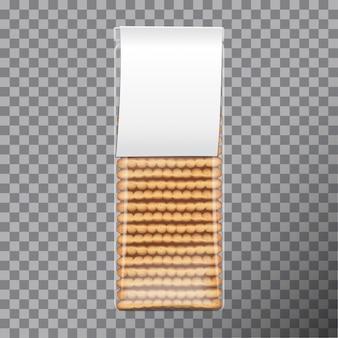 Paquete de galletas, envuelto en plástico transparente con etiqueta blanca. embalaje para galletas. ilustración