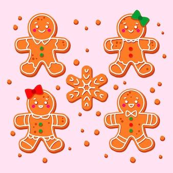 Paquete de galletas de hombre de jengibre dibujado a mano
